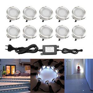 QACA LED pour Terrasse Mini Spot Extérieur Lumiere Eclairage Enterré Plafonnier, Lampe Extérieur Déco Pour Chemin Bassin Piscine DC 12V Etanche IP67 (Pack 10, Blanc froid) (SCQACA, neuf)