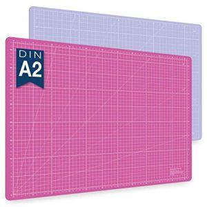 Guss & Mason tapis de découpe auto-cicatrisant A2, rose, bleu ou vert. Parfait pour la couture, le bricolage et le patchwork. 60 x 45 cm, double face indications en cm et pouces (Sidekick Markets GmbH, neuf)