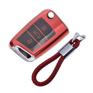 Coque en Silicone pour Clé VW Volkswagen - Cover Housse TPU Souple en Chrome pour Télécommande VW Golf MK7 Tiguan Passat Seat Ibiza Leon Skoda Octavia Porte-clé Protection (Rouge) (KiJi, neuf)