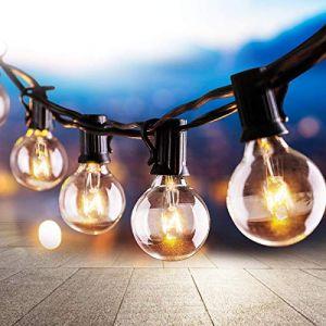 Osaloe Guirlande Lumineuse, 25 Guirlande Guinguette Extérieur et Intérieur Ampoule Blanc Chaud G40 Lampes Cordes avec 3 ampoules rechange, 9.5 Mètres/ 31FT Lumières Décoration pour Fête (Osaloe, neuf)