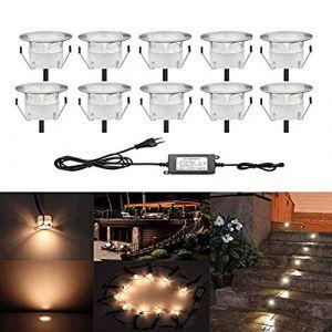 QACA Lot de 10 Spots LED Encastrable,Spots pour Escaliers Pont Lumière pour Jardin, Patio, Spots Luminaires LED Decoration les EscalierDC 12V Etanche IP67 (SCQACA, neuf)