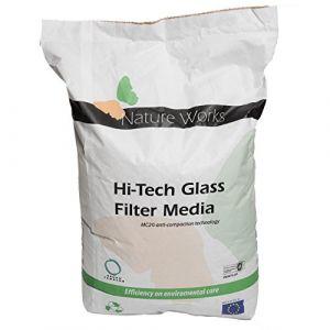 Verre filtrant Hi-Tech de Nature Works (20 kg) pour les installations de filtration par sable pour piscines, en verre naturel, cristallin, alternative écologique au sable, grain Ø : 0,8 mm (Poolomio, neuf)