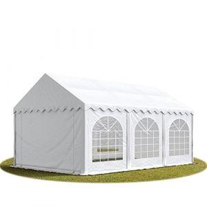 TOOLPORT Tente Barnum de Réception 4x6 m Bâches PVC env. 500g/m² Blanc Cadre de Sol Jardin (INTENT24, neuf)