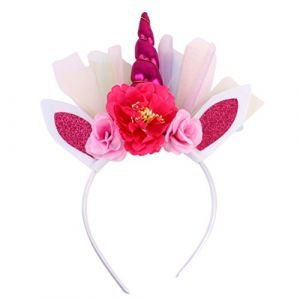 FRCOLOR Bandeau corne de licorne, corne de licorne bandeau pour vêtements de bébé, enfant, cosplay (rose rouge) (Ansuen, neuf)