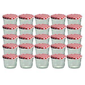 Cap+CroTo 82 Lot de 25 bocaux en Verre pour Conservation de Confiture Couvercles Rouges à Carreaux Capacité 230 ML (MamboCat, neuf)