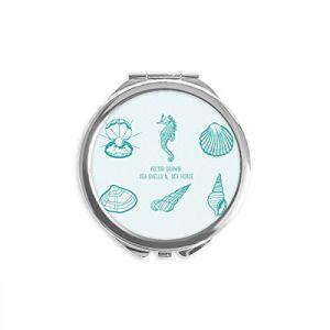 DIYthinker bleu marine life hippocampus motif miroir rond maquillage de poche à la main portable 2,6 pouces x 2,4 pouces x 0,3 pouce Multicolore (bestchong, neuf)
