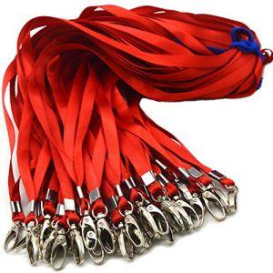 50pcs Cordon Clip 81,3cm Plat Lanière avec badge Clip cordons de cou Porte-clés, pour cartes d'identité/badge 50 Red (Antspirit Store, neuf)