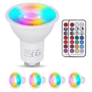 YAYZA! 4-Paquet Premium Dimmable GU10 6W RGB + Blanc Froid 6000K Couleur Changeante IR Télécommande LED Spot Downlight Ampoule (ClickBuy Group, neuf)