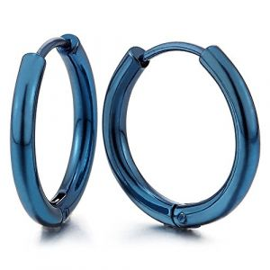 Bleu Cercle Anneau Boucles d'oreilles Charnière - Créoles - Boucles d'oreilles pour Homme Femme - Acier - 1 paire (iMECTALII EU, neuf)