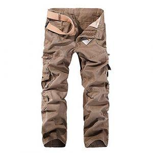 OEAK Pantalon Cargo Vintage Pantalon Battle Homme Militaire Casual Durables Multi Poches (Beige, 34) (Xiaochu, neuf)