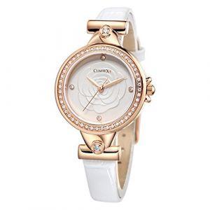 Montre Blanche Femme à la Mode avec Strass boîtier en Or Rose Blanc Cuir (comtex watch, neuf)