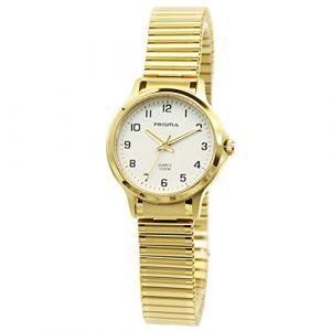 Montre classique PrismaP.8369 pour femme - Acier inoxydable - Analogique - Mouvement à quartz - Bracelet élastique doré (Excellent-Electronics, neuf)