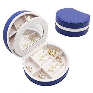 Mini boîte à bijoux portable boîte à bijoux simple boîte de rangement de bijoux boîte de bijoux de velours pour boucles d'oreilles,darkblue (shengyuanwujin, neuf)
