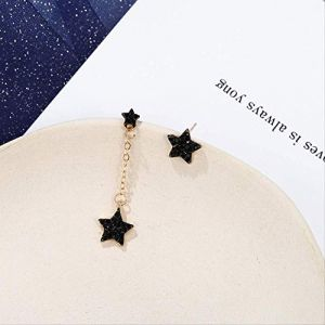 Femmes boucles d'oreilles ensembles créoles Style boucles d'oreilles étoiles noires Pentagone boucles d'oreilles asymétriques Leng boucles d'oreilles cadeau pour la fête d'anniversaire (Graceguoer, neuf)