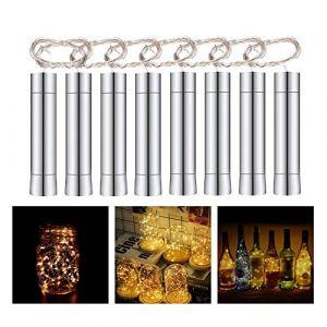 Herefun 8 x 20 LEDs Guirlande lumineuse Blanc Chaud, 2M Bouteille Guirlande Liège Lampes Lumières étoilées pour DIY Maison, Extérieur, Jardin, Terrasse, Mariage et Fête de Noël (Herefun, neuf)