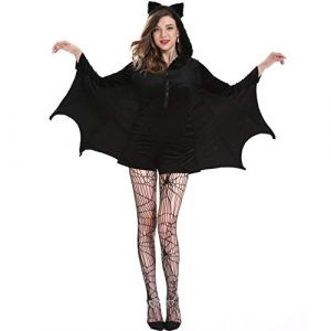 BCOGG Femme Vampire Bat Costume Halloween Carnaval Party Sexy Femmes Noir À Capuche Vampire Batman + Bas Cosplay Costume C48576AD XXL Robe et Chaussettes (chengduqinlanshangmaoyouxiangongsi, neuf)