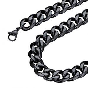 FOCALOOK Chaîne Homme 12mm Collier Acier Noir Maille Gourmette Grosse Curb Cuban Chain Necklace pour Garçon Accessoire de Rapper Bijoux Hip Hop Style 65cm/26 (FOCALOOK JEWELLERY, neuf)