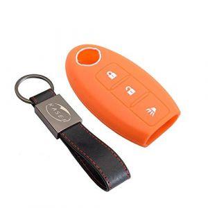 Housse étui en Silicone pour Clé Nissan - Coque Cover Porte-Clés 3 Boutons pour Qashqai Juke X-Trail Murano Micra Protection Télécommande Voiture Keyless (Orange) (KiJi, neuf)