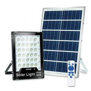 Projecteur Solaire LED 200W, Lampe de Sécurité Extérieur LED avec Lampe d'Ambiance RVB et Télécommande, Étanche IP66 (ELUFLY LIGHT, neuf)