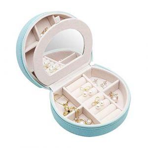 Mini boîte à bijoux portable boîte à bijoux simple boîte de rangement de bijoux boîte de bijoux de velours pour boucles d'oreilles,skyblue (shengyuanwujin, neuf)