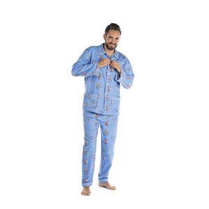 Jusqu'au lever du jour Ensemble Pyjama Chaud pour l'hiver en Pilou Unisexe (Vache Bleu, XL) (Jusqu'au lever du jour, neuf)