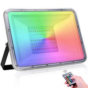 100W RGB Projecteur ,Imperméable IP67 Projecteur LED Extérieur avec télécommande ,16 couleurs 4 modes Changement de couleur Spot à LED pour Jardin Party Musique Festival(Pas de mémoire) (LEDAAAlight, neuf)