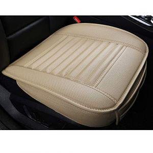 LUOLLOVE Housse de Siège Auto de Voiture de Avant Charbon de Bois de Bambou Cuir PU Super Respirant,Compatible pour 95% des Voitures,20,8 * 20,1 in (1 Pièce-Beige) (WMGoods, neuf)