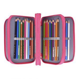 Newcomdigi Sac à Crayon de Toile Sac à Crayon 72 Couleurs Organisateur Crayon Porte-Crayons Grande Capacité Solide Durable Pratique pour Bureau Ecole Art - Rose (zhance, neuf)
