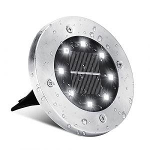 Lampe Solaire Extérieur, BrizLabs 8 LED Au Sol Lumière Solaire Jardin 6500K Blanc Froid Spot Solaire Extérieur IP65 Etanche Spots Solaires Encastrables pour Chemin Terrasse Cour Pelouse, 1 Pièce (Vegalife-EU, neuf)