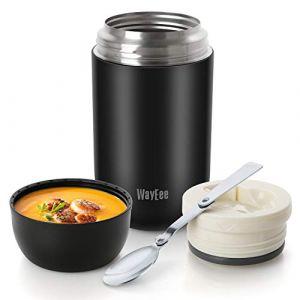 WayEee Boîtes Alimentaires isothermes,Boite Isotherme Repas Chaud Porte-Aliments en Acier Inoxydable à Double Couche pour Ecole Bureau (Noir, 750ML) (Wayeee, neuf)