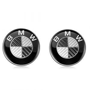 2 x 82mm BMW Emblème Noir Badge Capot Logo Botte Avant Capot Arrière pour BMW Série (Toptec, neuf)