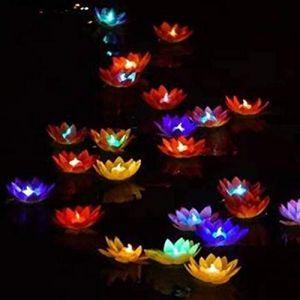 Uonlytech LED Flottante, Fleur de Lotus, Lumière de Bassin Souhaitant, Lumière de Piscine Lotus pour Bassin de Piscine (Blanc) (Vivinacy, neuf)