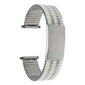 Bandini 22mm Bracelet de Montre Extensible en Acier Inoxydable pour Homme, Ton Argent, Longueur Ajustable, Bracelet Montre en métal à Expansion, sans Boucle (Shoptictoc., neuf)