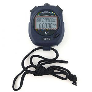 JZK® Professionnel chronomètre Sport numérique minuteur, 2 Lignes 10 mémoire, Compte à rebours, Alarme, Batterie + Cordon, PC2810 (JZK Express Network, neuf)