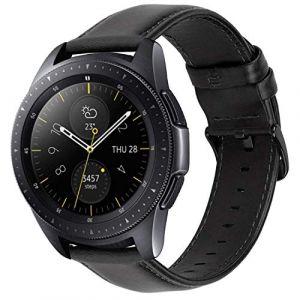 iBazal 20mm Bracelet Cuir Libération Rapide Bandes Strap Compatible avec Samsung Galaxy Watch 42mm/Active 40mm/Gear S2 Classic/Sport Bands Remplacement pour Huawei 2,Ticwatch 2/E Hommes Montre - Negro (ibazal, neuf)