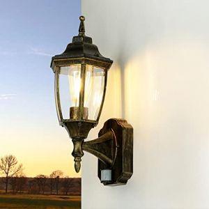 Formano lampe d'extérieur avec détecteur de mouvement «lyon» noir/doré décorative lampe extérieure iP44 laternenform applique murale (Licht-Erlebnisse, neuf)