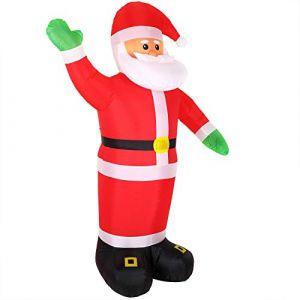 Père Noël gonflable XXL décoratif lumineux fête Noël 250cm pompe électrique intérieur et extérieur 4x piquets de terre autogonflant 4x LEDs (DEUBA-FR, neuf)