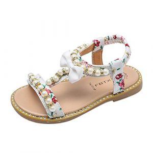 Bonjouree Sandales Fille Ete Chaussures Souples en Cuir Artificiel de Bowknot (EU:26, Blanc) (Bonjouree, neuf)