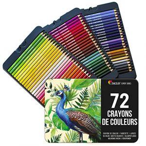 72 Crayon de Couleurs, Numérotés, avec Boîte Métal Zenacolor - Set de 72 Couleurs Uniques et Différentes - Rangement Facile avec 3 Etuis (72 Metal) (BMS France, neuf)
