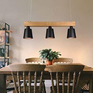 LED lumière pendante table à manger suspension lampe en bois suspension lampe suspension blanc chaud pour salle à manger chambre salon bureau café restaurant (Gefunden, neuf)