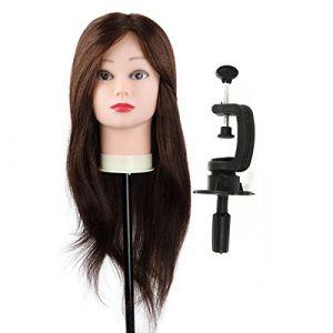 Minliday 60cm 61cm 95% cheveux naturels Tête à coiffer Cheveux, poupées Mannequin Mannequin tête avec cheveux Pince de maintien (MINLIDAY, neuf)