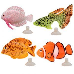 Wenxiaw Faux Poissons Tropicaux Faux Poisson en Silicone pour Aquarium Décor D'aquarium Faux Poisson Rouge pour Fish Tank Décoration Artificielle Fish Aquarium Toy Fish Tank (4 Pièces) (Wenxiaw, neuf)