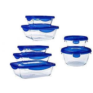 Pyrex – Cook&Go – Lot de 7 boîtes en Verre avec Couvercle Hermétique et Étanche – Cuisinez au four, Conservez, Emporte (Pyrex, neuf)