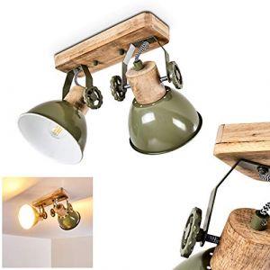 Plafonnier Orny en bois et métal vert, 2 spots de plafond orientables, luminaire rétro, style industriel, pour ampoules E14, max. 60 Watt, compatible ampoules LED (hofstein, neuf)