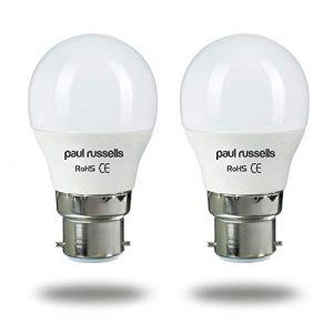 Paul Russels Lot de 2 ampoules LED en forme de balle de golf B22/BC/culot à baïonnette 7 W = 60 W G45 Petit faisceau 270 Blanc froid 4 000 K Équivalent ampoules à incandescence 60 W (Barkley Trading, neuf)