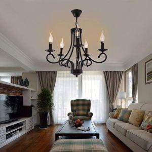 Iglobalbuy Lustre Rétro Elégant 5 Branches, Suspension Traditionnelle en Métal Ferronnerie Lampe Pendentif en Style Chandelier Fer Forgé E14 pour Eclairage Décoré Maison Salle à Manger (Euroeshop, neuf)