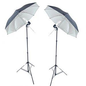 DynaSun KUSB45 400W Kit double d'éclairage Professionnel Studio Photo Vidéo avec Trépied, Ampoule Spirale Lumière du Jour DayLight, Douille, Parapluie Argent (unitedstore24, neuf)