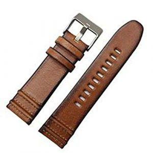 Bracelet Cuir Marron Bracelet 22 24 26mm en Cuir Bracelet de Montre, 3,26mm Argent Boucle (suizhoushizengdouquyuezichuanbaihuodian, neuf)