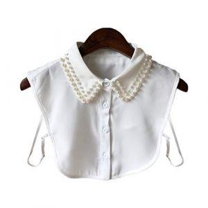 Lunji Élégant Faux Col Femme Perle Collier Chemise Pull Vêtements Accessoire (Blanc) (Lunji, neuf)