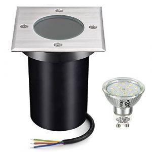 Bojim Spot Exterieur Led Etanche IP67, Spot Encastrable Exterieur Ampoule GU10 6W 220V 2800K Blanc Chaud, Spot Terrasse Exterieur Encastrable Carré pour Jardin Chemin Parc Cour, Acier inoxydable (YangjuTian, neuf)